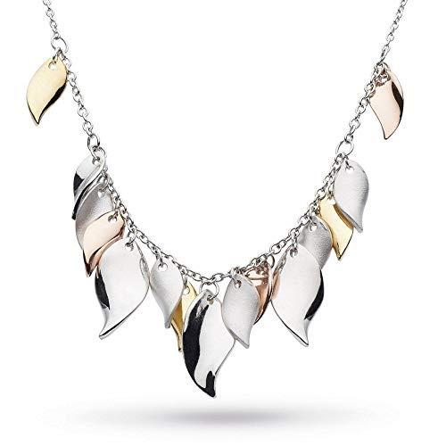 Kit Heath Sterling Silver Enchanted Cluster Leaf Multi Gold, Rose Gold Plate 18' Necklace, 90024GRG