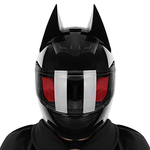 Casco Completo De Batman para Motocicleta Todoterreno, Casco De Motocicleta De Carreras De Motocicleta De Bicicleta Eléctrica De Color Negro Brillante para Hombres Y Mujeres Certificación Dot/CEC