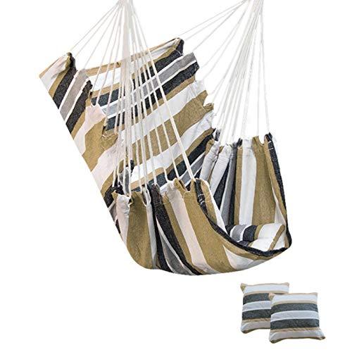CCLIN Neue Verdickung Hängemattenstuhl Hängender Swing Chair Outdoor Portable Relaxation Leinwand Swing Travel Camping Lazy Stuhl mit/kein Kissen-Coffee B