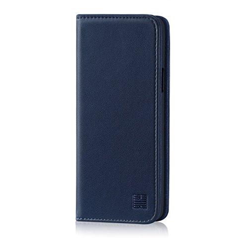 32nd Klassische Series - Lederhülle Hülle Cover für LG Q7, Echtleder Hülle Entwurf gemacht Mit Kartensteckplatz, Magnetisch & Standfuß - Marineblau