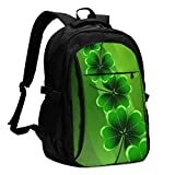 asfg Resistente a Las Manchas FourLeaf Clover Multifunctional Personalized Customized USB Backpack, Student School Outdoor Backpack,Travel Bag Laptop Bookbags Business Daypack.