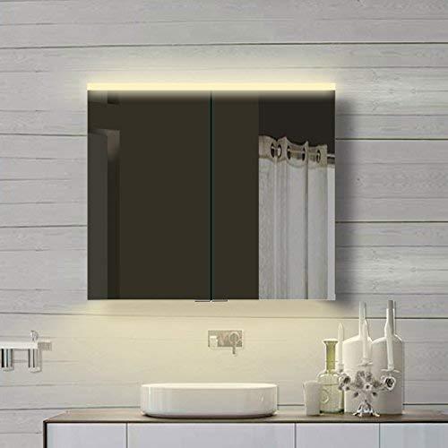 Lux-aqua Alu LED Beleuchtung Badzimmerschrank Badschrank Spiegelschrank Warmweiß & Kaltweiß-YDC80-70DP, Aluminium, Silber, 80x70cm