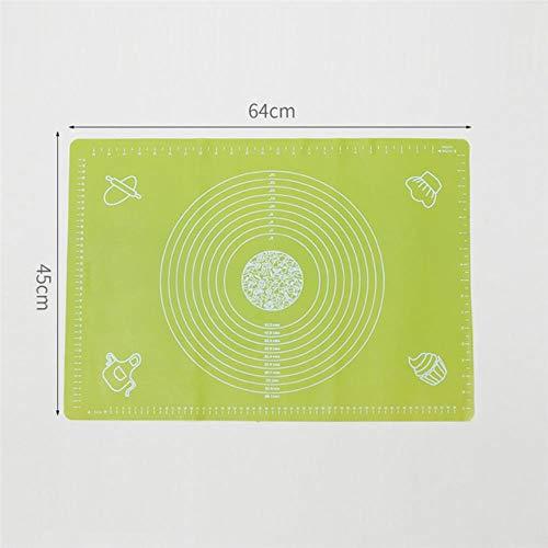 LLAAIT 64 * 45 cm Grand Tapis De Cuisson en Silicone Pétrissage Rouleau Pâte Pad Anti-Adhésif Four Farine Échelle Roulante Tapis Pâtisserie Ustensiles De Cuisson Doublures, Vert