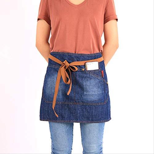 Schorten Taille Schorten Met Zakken Denim Bar Kitchen Schort Bow Kort Half Tailleband Leather Apron Cafe Server
