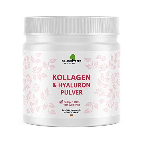 Kollagen mit Hyaluronsäure als Pulver | Vergleichssieger 2020* | 300g | 9,5g Collagen 500mg Hyaluron pro Tagesdosis | Laborgeprüft und verarbeitet in Deutschland