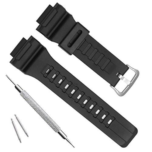 OliBoPo - Cinturino di ricambio impermeabile in resina naturale per Casio SGW-300H MRW-200H AE-1200 W-800H W-735H AQ- S800W AQ-S810W (fibbia in argento/nero)
