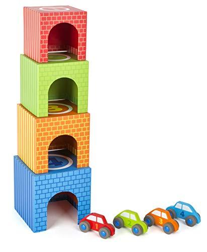 Small Foot Company-Cubos para apilar small foot, juguetes con estimulación para la motricidad, con 4 coches diferentes, hechos de madera, multicolor by Legler 11083 , color/modelo surtido
