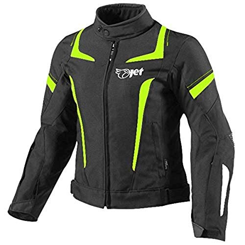 JET Chaqueta Moto Mujer Textil Impermeable con Armadura (L (ES 40-42), Fluro)