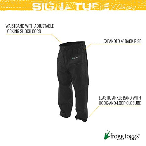 FROGG TOGGS Pro Action Waterproof Rain Pant, Black, X-Large