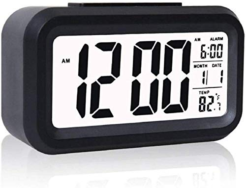 Case Plus Digital Smart Backlight Battery Operated Alarm Table Clock with Automatic Sensor, Date & Temperature (White Alarm Clock 1 Pack) (Black) (Black Alarm)