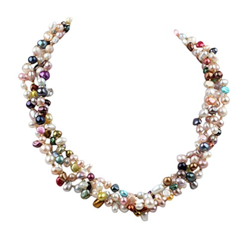 TreasureBay Women's MultiColor Freshwater Pearl Twisted Necklace, Chunky Multi-strands Pearl Necklace For women