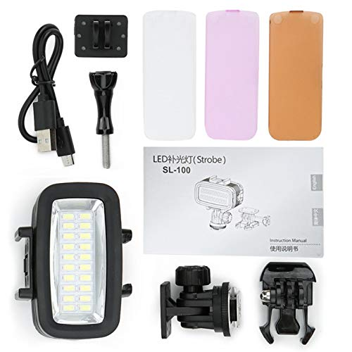 YUUGAA Luz de Relleno de Buceo, cámara LED Luz de Relleno de Buceo 40m Iluminación subacuática Lámpara de fotografía Impermeable