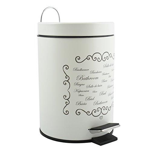 MSV Kosmetikeimer Paris Creme Mülleimer Treteimer Abfalleimer - 3 Liter – mit herausnehmbaren Inneneimer Grau
