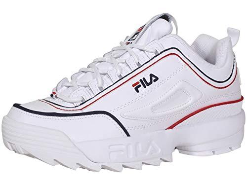 Fila Men's Disruptor II Contrast Fashion Sneakers White Navy Red 11.5