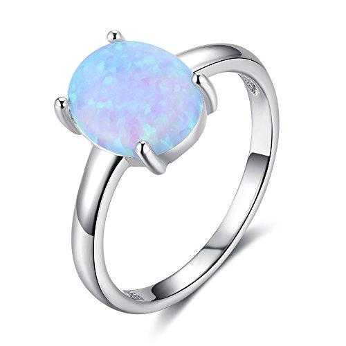 Yazilind Exquisite 925 Sterling Silber Inlay Fashion Oval Blau Zirkon Einfachen Stil Persönlichkeit Party Ring Größe 17.2