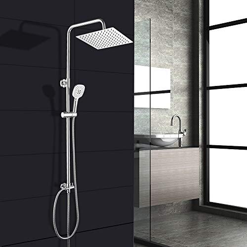 Duschsystem Regendusche Mit Wandhalterung Verstellbar 3 Strahlarten Mit Kopfbrause(Eckig 20 * 20cm)