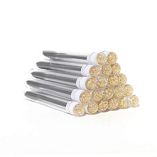 Lot de 20 baguettes pour extensions de cils mouchetés en or blanc avec ruban à essai noir avec cabochon doré sur le couvercle, baguette à mascara jetable