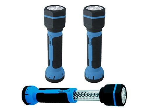 Preisvergleich Produktbild 2er SET LED Taschenlampe / Arbeitsleuchte + Magnet,  mit Akku,  Teleskopfunktion
