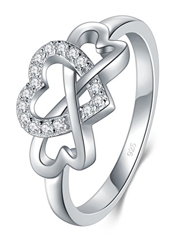 BORUO 925 Sterling Silver Ring, High Polish Cubic Zirconia Infinity and Heart Tarnish Resistant Comfort Fit Ring Size 7