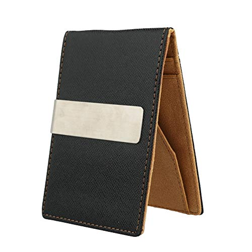 Men's Money Clip Faux Leather Slim Wallet ID Credit Card Holder