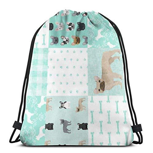 French Bulldog Aqua Chea 3D Print Drawstring Backpack Rucksack Shoulder Bags Sports Gym Bag For Adult 16.9'X14'inches