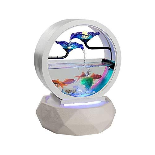 LKNJLL Aquarium Glas Aquarium, Desktop-Goldfisch-Behälter kein Wasser wechseln Aquarium mit LED-Leuchten, Landschaft Dekoration for Home/Office Dekoration als Geschenk EIN guter Freund.