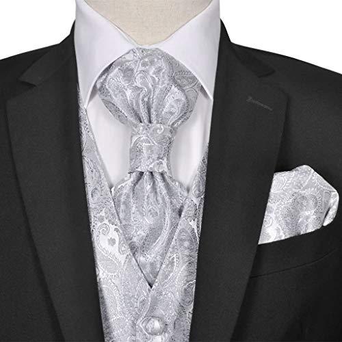 Geniet van winkelen met Gilet set mannen paisleymotief bruiloft maat 52 zilver