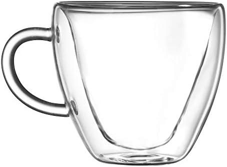 Anjiyoyo Heart Shaped Double Walled Insulated Glass Coffee Mugs or Tea Cups Double Wall Glass product image