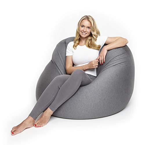 Lumaland Flexi Comfort Sitzsack Premium Bean Bag Sitzkissen Big 155 x 100 cm Dunkelgrau