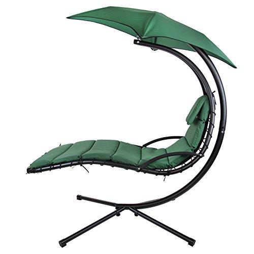 Montafox Schwebeliege Hängeliege in vielen Farben Schwingliege Sonnenliege mit Sonnenschirm, Auflagen und Nackenkissen, bis 150 kg belastbar, Farbe:Galapagosgrün