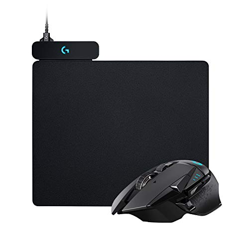 Logitech G502 Lightspeed Kabellose Gaming-Maus (LIGHTSYNC RGB-Maus, 16.000 DPI, 11 programmierbare Tasten, Laptop/PC-Computermaus, Hero Sensor) + Logitech Powerplay Wireless Charging Gaming Mousepad
