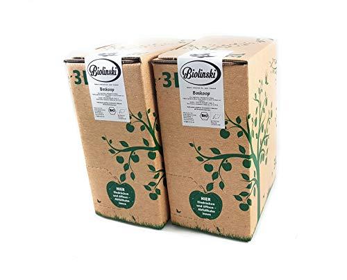 Biolinski Boskoop, sortenrein, seltener BIO Apfelsaft, 100% Direktsaft, naturtrüb, vegan, 2er Pack (2 x 3 Liter, Bag-In-Box mit Zapfhahn)