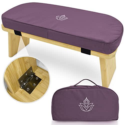 ALAYA Meditationsbank - Faltbarer Hocker aus Bambus & Velours - Fördert eine bessere Haltung bei Meditation - Robust, nachhaltig, wasserabweisend - Abnehmbares Kissen & Tragetasche - Ca. 20x20x40 cm