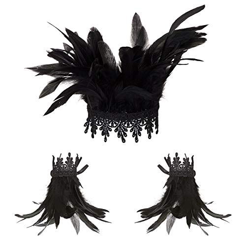Feather Choker Set, ANSUG Gothic Feather Neck Wrap Lace Collar Neckwear with 2 PCS Wrist Cuffs for Women Girls 1920s Party Halloween Costume Accessories