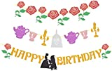 Beauty and the Beast Inspired Happy Birthday Banner, Belle Happy Birthday Rose Garland Kids Princess Party, Set of 3 Party Banners, Glittery Red Rose Banner, Colorful Banner with Different Characters, Party Supplies for Birthday, Theme Parties, Beauty and Beast Decorations