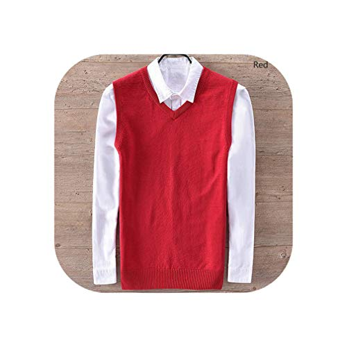 100% Cotton Male Knitting Vest Mens V Neck Sleeveless Sweaters Casual Mens Vest,Red,XXL