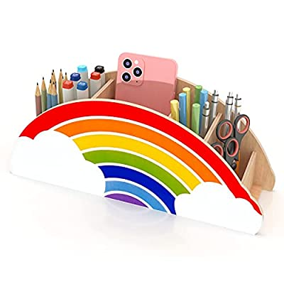 Gamenote Wooden Pen Holder & Pencil Holders - Rainbow Supply Caddy Phone Holder Desk Organizer for Office Supplies Makeup Brush Classroom Organization for Women & Kids