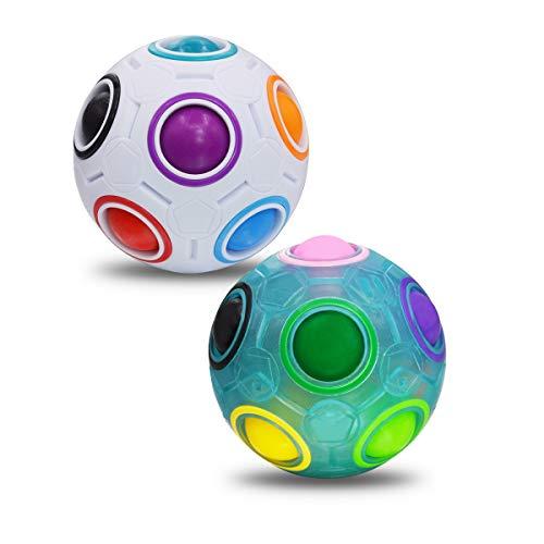 Coolzon Magic Rainbow Ball 3D Puzzle Cube, 2 Pack Bola mágica del Arco Iris Regalo de Juguete Educativo para Niños, Blanco + Azul
