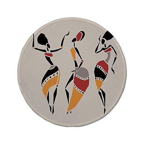 Rutschfreies Gummi-rundes Mauspad afrikanische Frau afrikanische Tänzer Silhouette Set Ethnische einheimische Kleider Party Karneval Tradition mehrfarbig 7,87 'x 7,87' x3MM