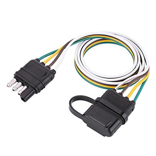 Anhängerstecker, 6-24 V, 4-polig, flache Anhängersteckdose, Kabelstecker-Adapter für das Abschleppen von Anhängerkupplungen für Wohnwagen