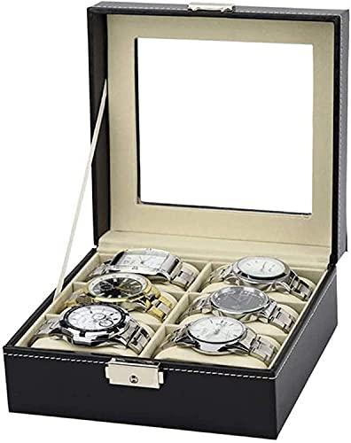 OH Reloj Box Watch Watch Display Organizador 6 Slots Doble Fila Pu Cuero Reloj Reloj Organizador Reloj Mostrar Caja Caja Vintage Caja Seguro y fuerte/Negro/Talla única
