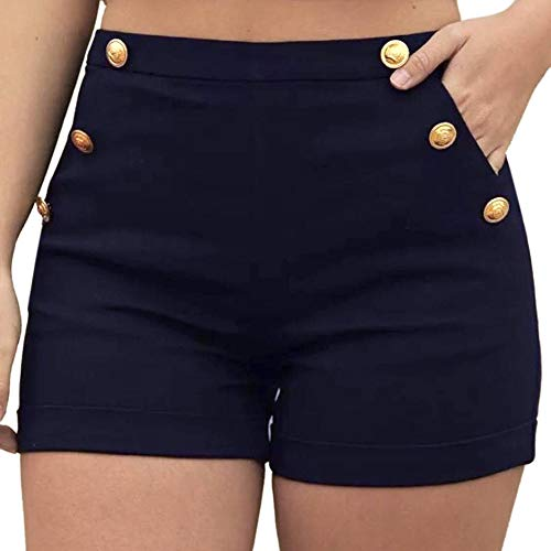 Buy Dainzusyful Women High Waisted Short Zipper Elastic Band Hot Pants Summer Casual Beach Shorts Po...