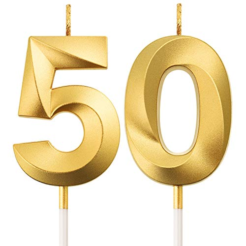 50th Birthday Candles Cake Numeral Candles Happy Birthday Cake Topper Decoration for Birthday Party Wedding Anniversary Celebration Supplies (Gold)