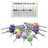 HaimoBurg 20 Pezzi PCB Micro Punte Per Trapano in carburo Scanalatura Elicoidale da 0,1 mm a 1 mm e 0,3 mm - 1,2 mm