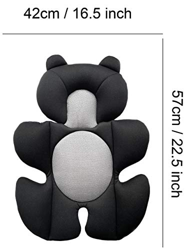 G Ganen Infant Baby Cozycushion Sleeping Cushion Head and Body Support Cushion Stroller and Seat Comfort Cushion 3D Mesh Summer Cool Liner (Black Bear)