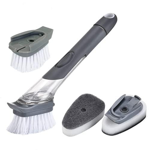 Cepillo para Lavar Platos,Cepillo de Limpieza de Mango Largo 3 en 1,Cepillo de Cocina para Lavavajillas con Dispensador de Jabón,Cepillo de Cocina para Limpiar Ollas y Fregaderos