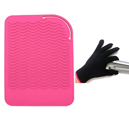 """Flat Iron Travel Mat, Curling Iron Counter Protector with Heat Resistant Glove for Curling Irons, Hair Straightener, Flat Irons and Hair Styling Tools, 9"""" x 6.5"""", Pink by Lessmon"""