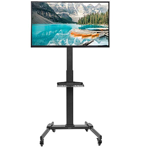VIVO Black Mobile TV Cart for 32 to 55 inch LCD LED Plasma Flat Panel Screens, Rolling TV Stand with Wheels STAND-TV05L