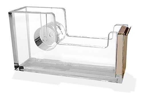 Acrylic Tape Dispenser - Gold Office Desk Dispenser for Clear Tape - Decorative Accessory for Home, School, or Work
