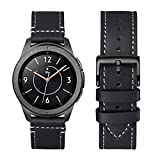 WFEAGL Compatible With Samsung Galaxy Watch Band 42mm 46mm, Top Grain Leather Strap Replacement Wristband for Samsung Gear S3 Frontier/Classic/Galaxy Watch 46mm (Black Band+Black Buckle, 46mm)